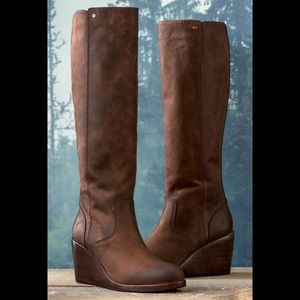 FRYE Emma Tall Leather Wedge Boots